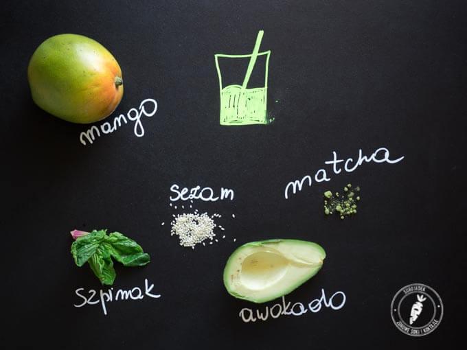 pełen witamin i minerałów zielony koktajl z sezamem