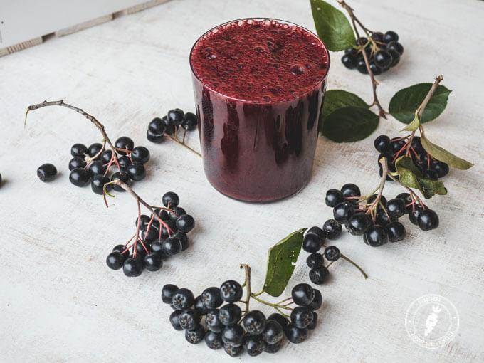 świeże owoce aronii, śliwki, jarmu i jabłka w smacznym i zdrowym koktajlu