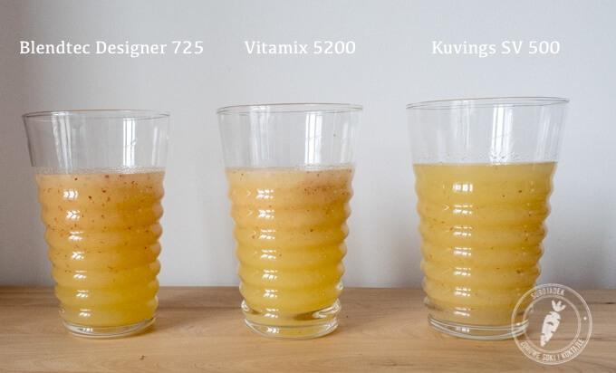 porównanie jakości koktajli przygotowanych w Vitamix 5200, Blendtec Designer i Kuvings SV 500