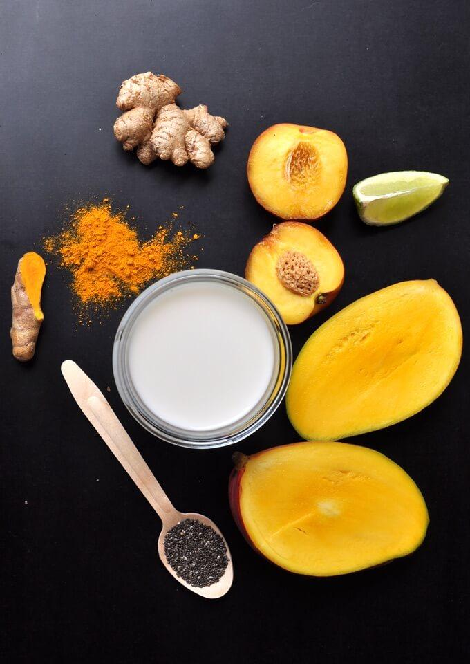składniki na koktajl z kurkumą