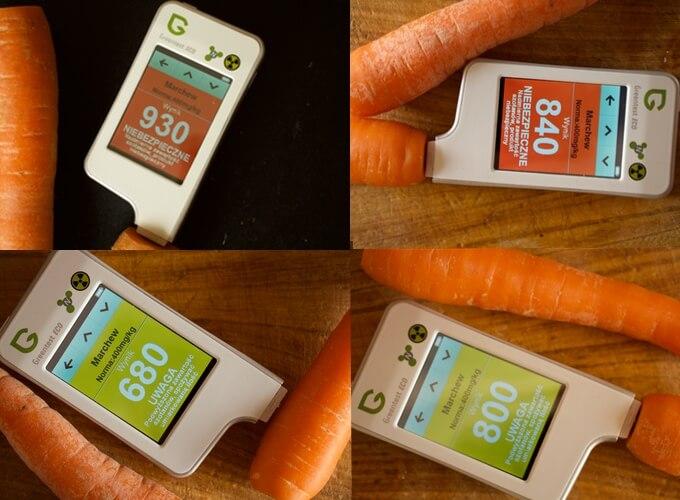 urządzenie Greentest wykazało, że marchew od lokalnego rolnika zawiera niższą ilość azotanów niż marchew z supermarketów