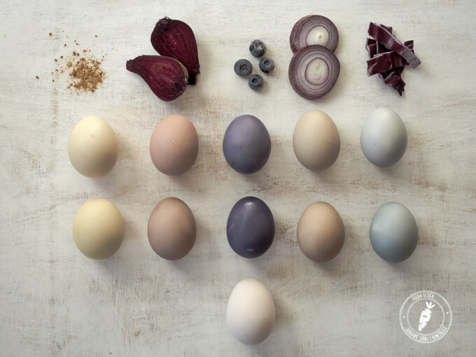 pisanki naturalnie barwione burakiem, łusakmi cebuli, kurkumą, jagodami i czerwoną kapustą