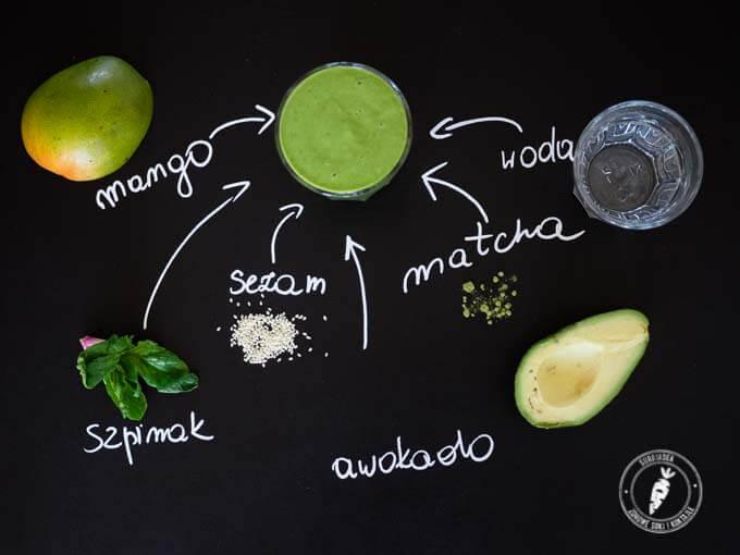 prosty przepis na zielony koktajl z mango, awokado i sezamem