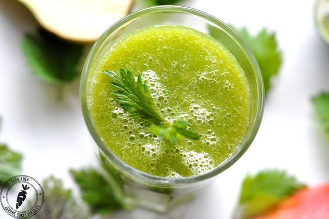 zielony koktajl pokrzywa mango gruszka